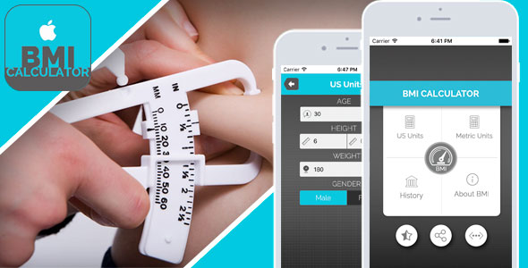 BMI Calculator for iOS - Full Application with PSD