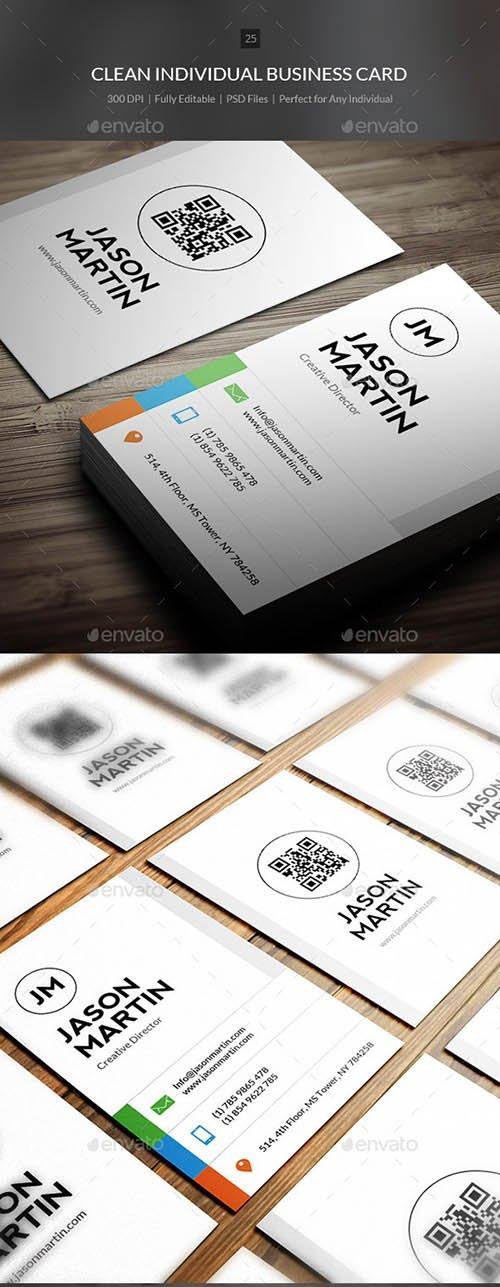 Clean Individual Business Card - 25