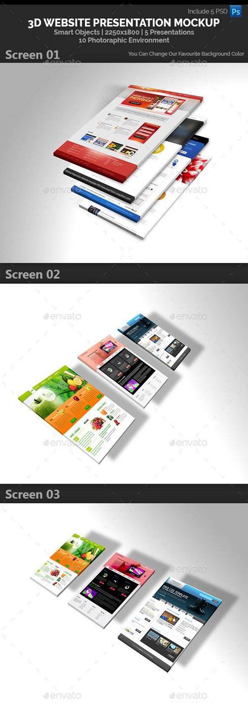 3D Website Presentation Mockup