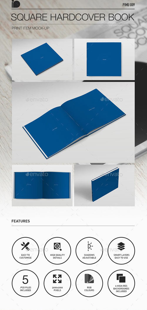 Square Hardcover Book & Brochure Mock-Up